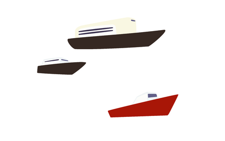 Ships and boats drawn in simple style. Icons for iconographic. Illustration