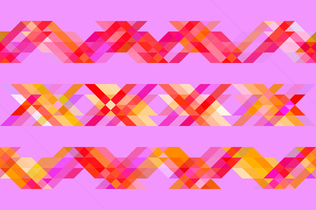 Colorful geometric background, bright neon triangles on magenta background.
