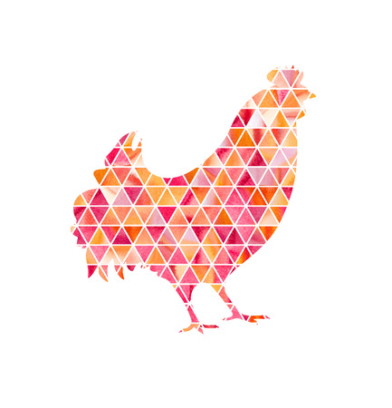 new technology: Illustration of rooster, symbol of 2017 on the Chinese calendar. Silhouette of red cock made with watercolor triangles. Element for New Years design. Image of 2017 year of Red Rooster