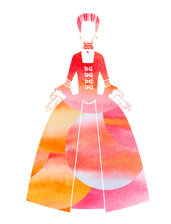 18th century style: Woman in 18th century dress watercolor silhouette. Hand drawn illustration Stock Photo