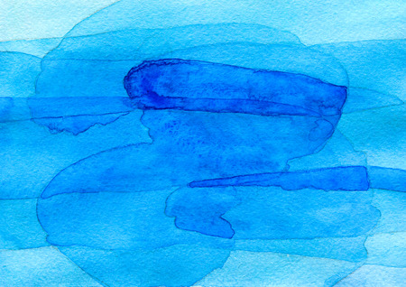 Abstract blue watercolor background, hand painted texture with imposition of transparent shapes.