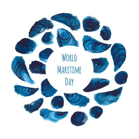 World Maritime Day vector illustration. Background with watercolor seashells. All elements under clipping mask. Illustration