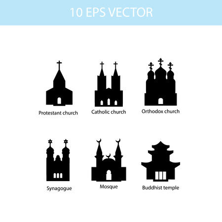 jewish houses: Vector set illustration of temples, vector icons