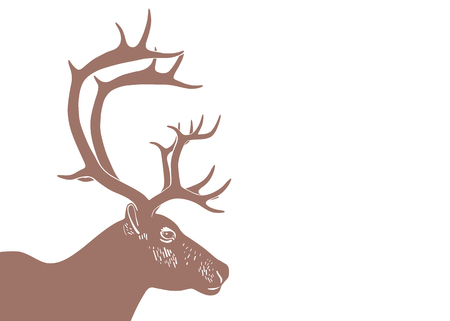 Silhouette deer head with antler isolated on white background. Vector illustration in linocut style. Wildlife background
