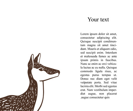One color illustration of a doe head in lithography style. Engraving style image of female deer without horns isolated on white. Wildlife background.