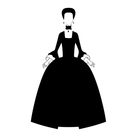 Woman in 18th century dress silhouette vector Illustration. Illustration