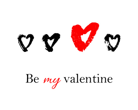 Vector hand drawn ink illustration with hearts. Greeting card with Be my valentine text. Doodles.
