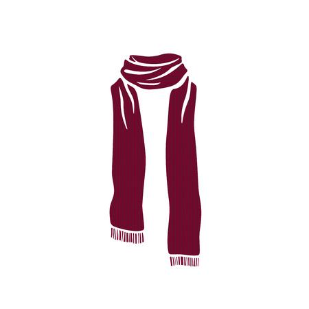 Icono de la bufanda pelada, logotipo de la temporada fría de invierno sobre fondo blanco