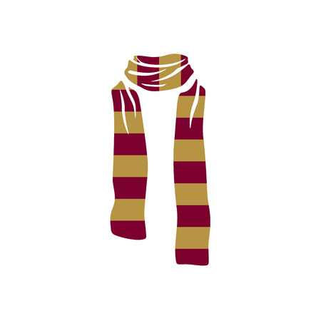 Stripped scarf icon, winter cold season logo on white background