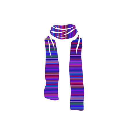 Stripped scarf icon, winter cold season on white background