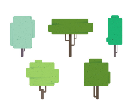 Tree icons on white background, vector illustration Illustration