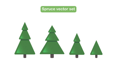 Various green Christmas trees with snow. Vector illustration Illustration