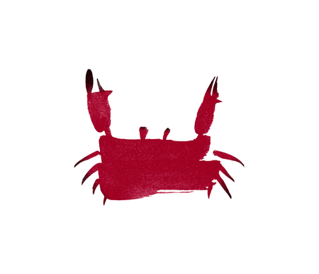 children crab: Simple childish red crab in sumi-e technique isolated on white background.