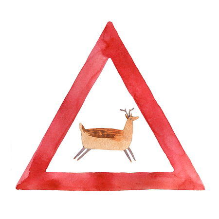 Watercolor road sign with deer isolated on white