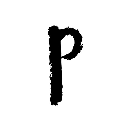 gouache: Vector hand drawn letter P with smooth acrylic brush style edges on white