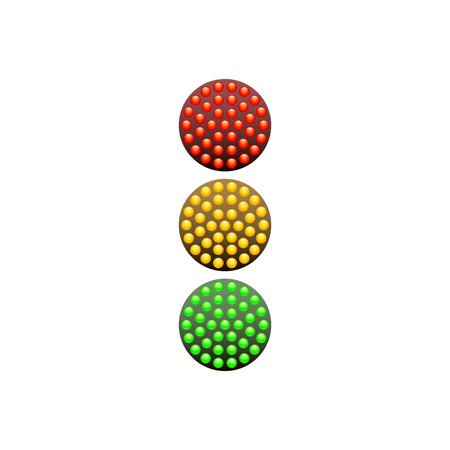 diodes: Traffic Light from red, yellow and green diodes isolated on white background. Vector illustration. Simple road sign icon