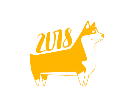 wite: Vector yellow numbers 2018 with dog, next new year template illustration. Hand lettering isolated on wite.