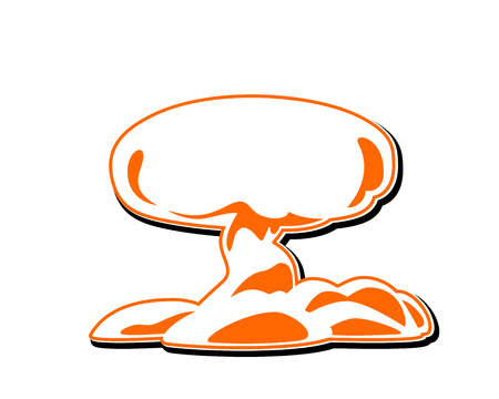 Explosion Icon Vector. Mushroom cloud, silhouette. Flat vector web icon or sign with shadow.
