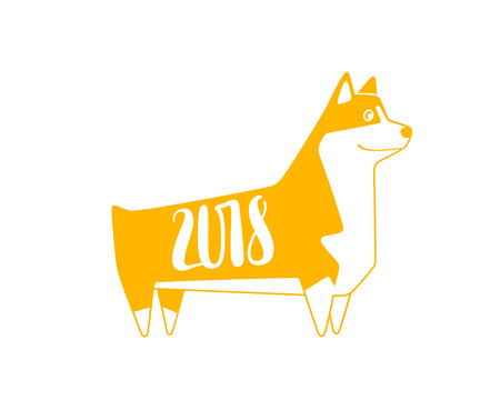 Vector yellow numbers 2018 with dog, next new year template illustration. Hand lettering isolated on wite.