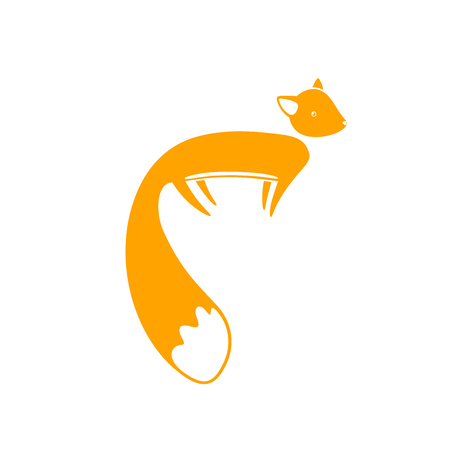 Cute cartoon fox with big tail in flat style. Isolated vector illustration. Illustration