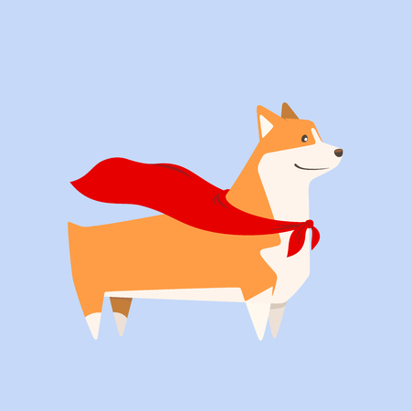Welsh Corgi breed dog with superhero cape, cutest and smallest sheepdog. Vector illustration.  イラスト・ベクター素材