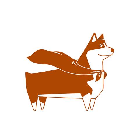 Welsh Corgi breed dog with superhero cape, cutest and smallest sheepdog. Vector illustration. Illustration