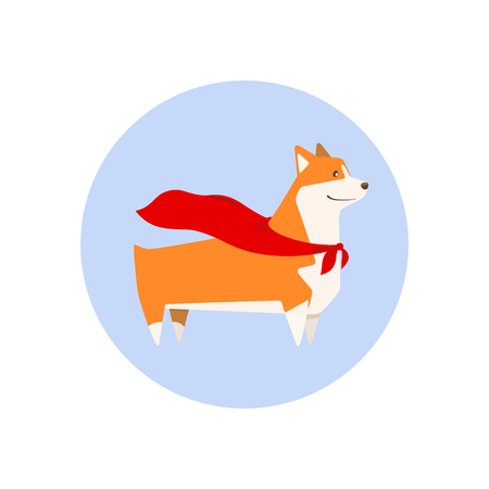 Welsh Corgi breed dog with superhero cape, cutest and smallest sheepdog. Vector illustration.