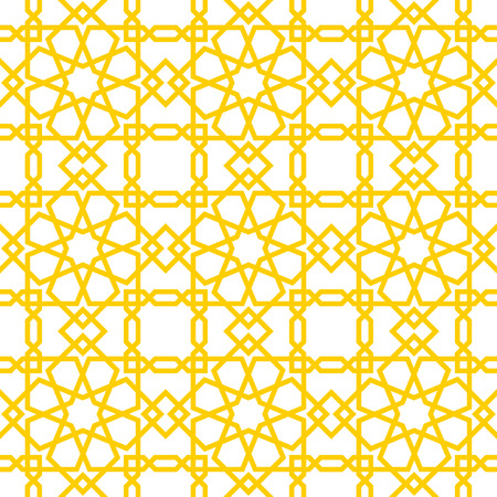 Islamic yellow pattern with white background. Endless texture can be used for wallpaper, pattern fills, web page background .