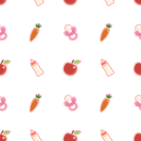 Newborn baby girl seamless pattern with carrots, apples, bottles and nipples in warm colors.