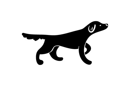 Vector silhuette of staying hunting dog, isolated on white background.
