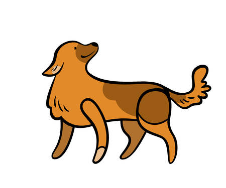 Vector colorful dog, isolated on white backgroun. Illustration