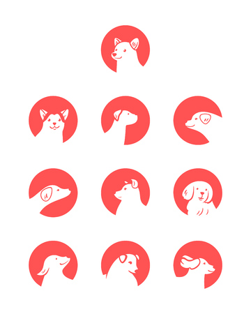 Vector set of dog icons in cartoon style, isolated on white background.
