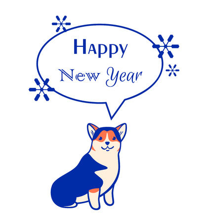 Vector new year greeting card with corgi in cartoon style isolated on white background.
