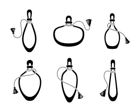Perfume bottles with tassel icons set, silhouette on white.