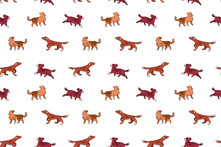 Vector seamless pattern with hunting dogs in cartoon style, isolated on white background. Illustration