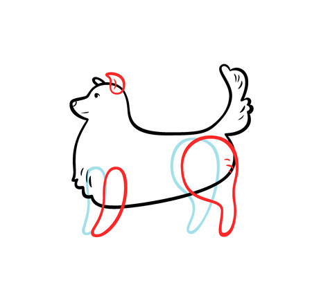 Vector staying dog in sketch style, isolated on white. Illustration