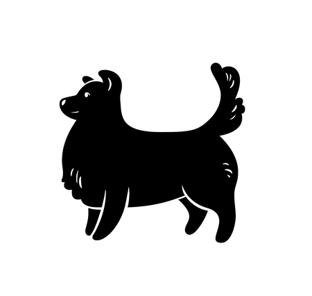 Vector silhouette of staying frendly dog, isolated on white.