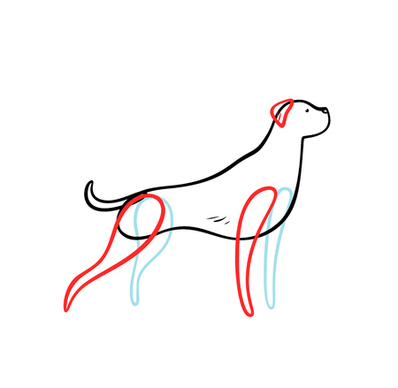Vector sketch of staying hunting dog, isolated on white background.