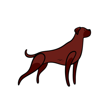 Vector brown staying hunting dog in toy style, isolated on white background.