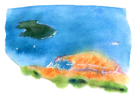 Watercolor illustration of Dubrovnik, top view on harbor