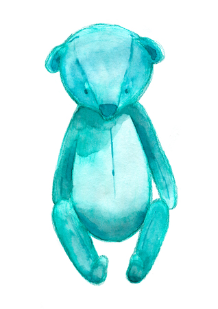 Watercolor drawing of blue teddy bear isolated on white