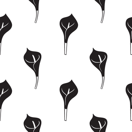 Calla lily flower or Zantedeschia. Seamless pattern with white calla lilies. Vector illustration.