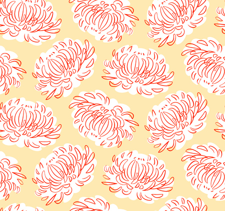 Orange Asters. Vector seamless pattern with flowers. Texture for your design elements.