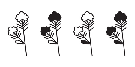 Vector illustration of plant with flower isolated on white background. Icon set. Иллюстрация