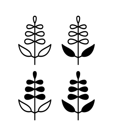 Sage with flower isolated on white background vector illustration. Иллюстрация