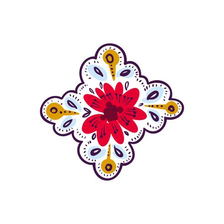 Decorative folk pattern element, Eastern European print.