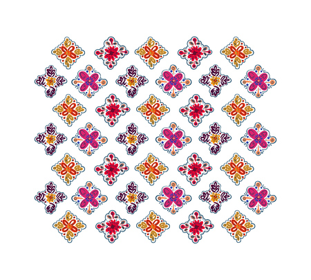 Decorative folk pattern background. Eastern European print. Illustration