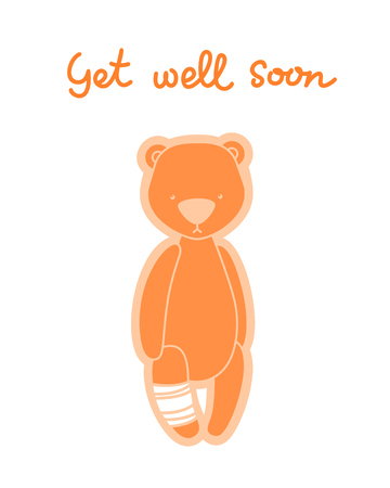 Get well soon card. Teddy bear with bandaged leg isolated on white