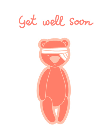 Get well soon card. Teddy bear with bandaged head isolated on white Illustration