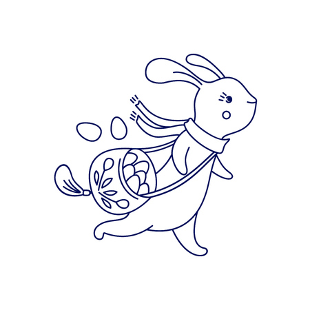 Running Easter cute bunny with bag of eggs isolated on white background. Vector illustration.
